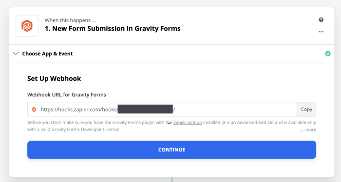 Gravity Forms webhook for Zapier