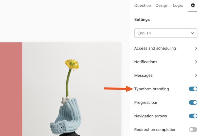 Turning off Typeform branding
