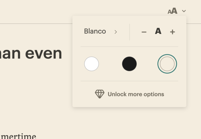 Pocket display settings