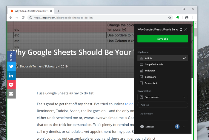 Evernote Web Clipper in action