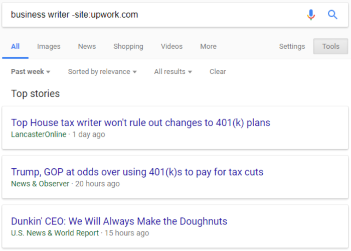 Google search results for business writer excluding site:upwork.com