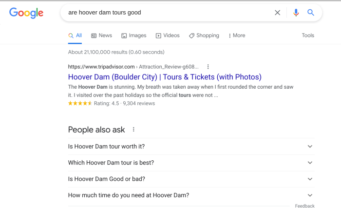 """The search results for """"are hoover dam tours good"""""""
