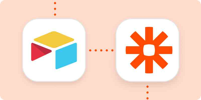 The Airtable and Zapier logos in white squares on a light orange background