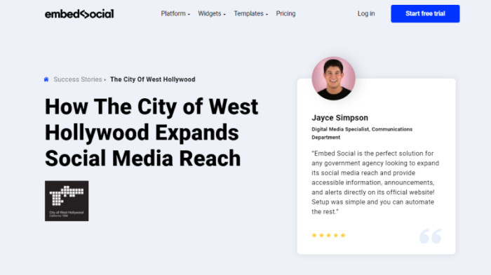 An example of a success story on EmbedSocial's website