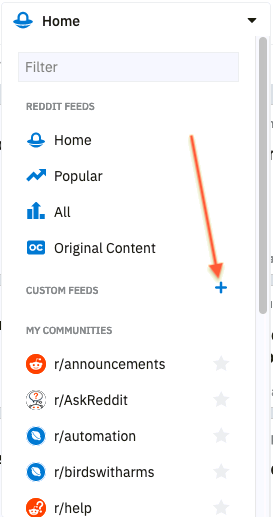 Plus sign button to add a new custom feed