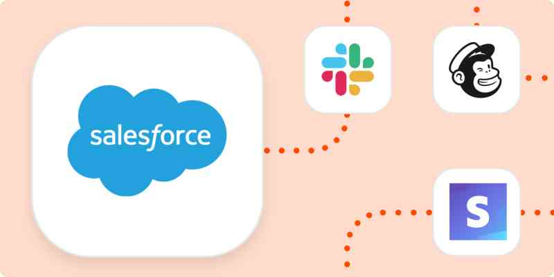 The Salesforce logo in a large white square connected by dotted orange lines to smaller squares containing the logos for Slack, Mailchimp, and Stripe.