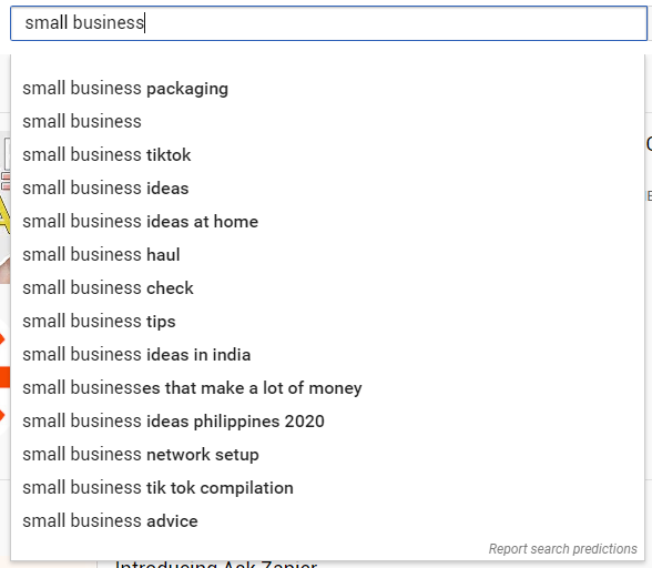 Typing small business in the search bar and multiple search terms autopopulate