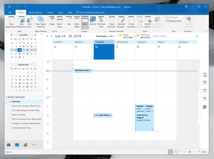 Google Calendar se ha sincronizado con Microsoft Outlook