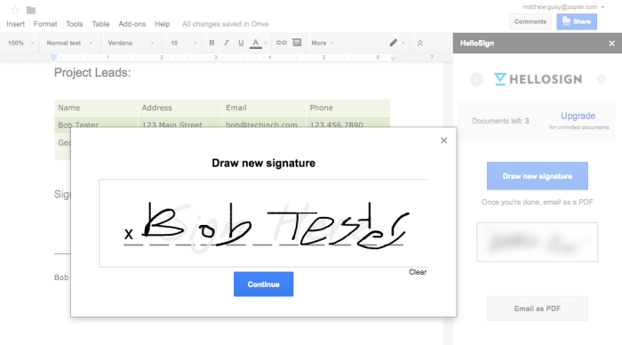 HelloSign for Google Docs