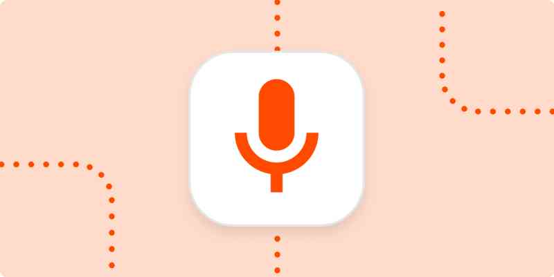 A microphone icon in a white square on an orange background.