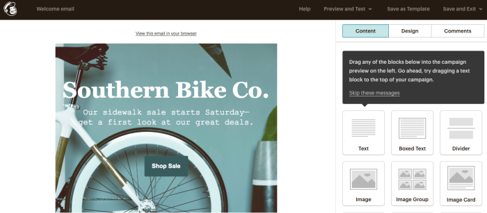 Editing a template with Mailchimp.