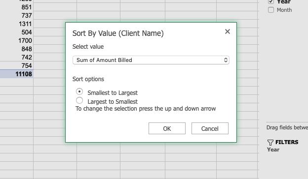 Ordenar por valor en una tabla dinámica