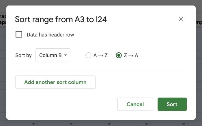 Sorting a range in Google Sheets