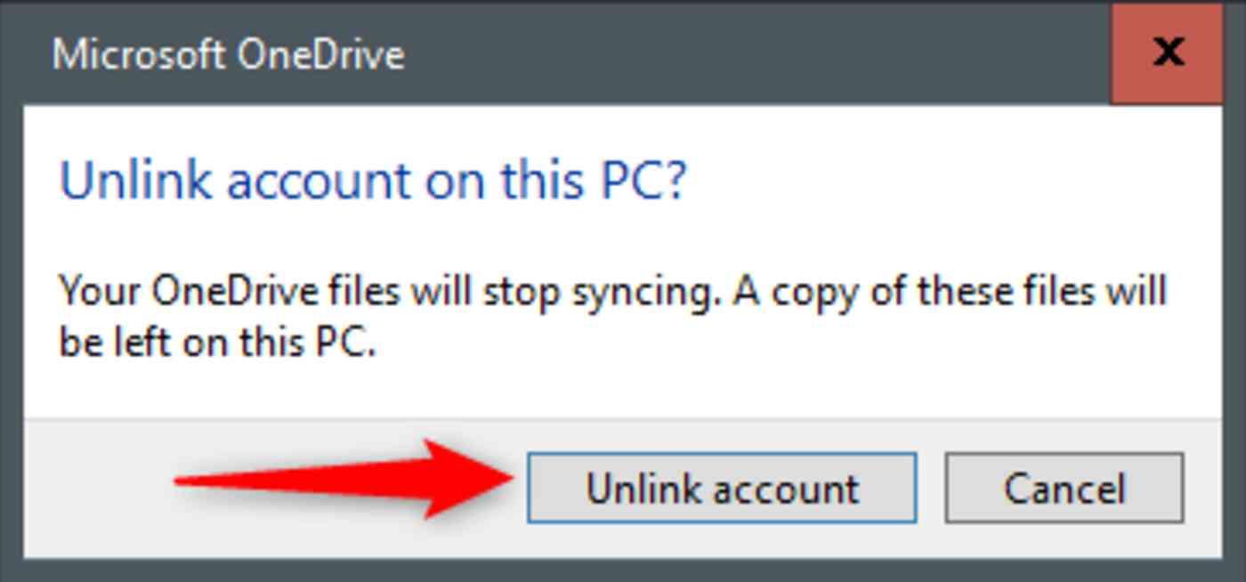 Unlink account button