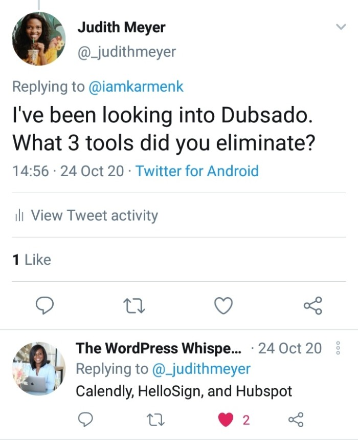 Judith asking for CRM reviews on Twitter
