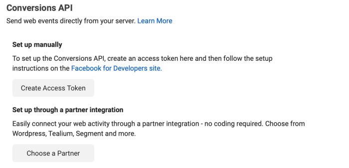 Facebook Conversions API setup options: Set up manually or set up through partner integration