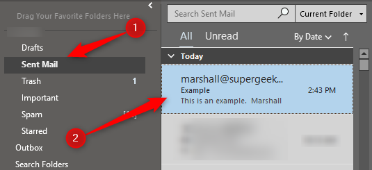 Double-click email to recall