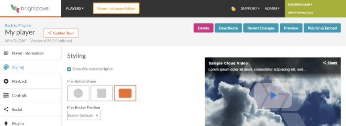 Brightcove video hosting interface