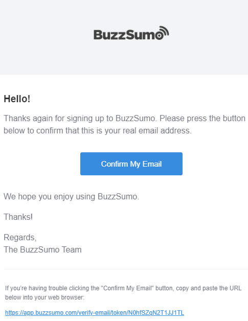 A double opt-in email from BuzzSumo