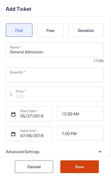 Ticket settings