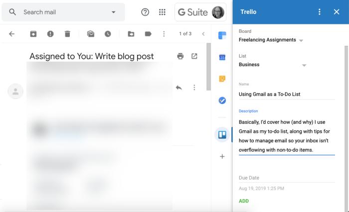 Gmail Trello add-on