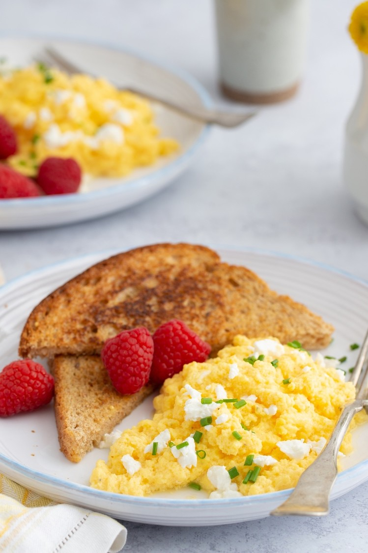 This is not your average scrambled eggs. Our scrambled eggs are mixed with a few dollops of plain yogurt, goat cheese, and fresh herbs. Then cooked to perfection. | peteandgerrys.com