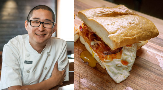 Tim Dornon created this magnificent fried egg sandwich with kimchi and bacon. This sandwich has crusty bread, kimchi, crispy bacon, and homemade mayonnaise. | peteandgerrys.com