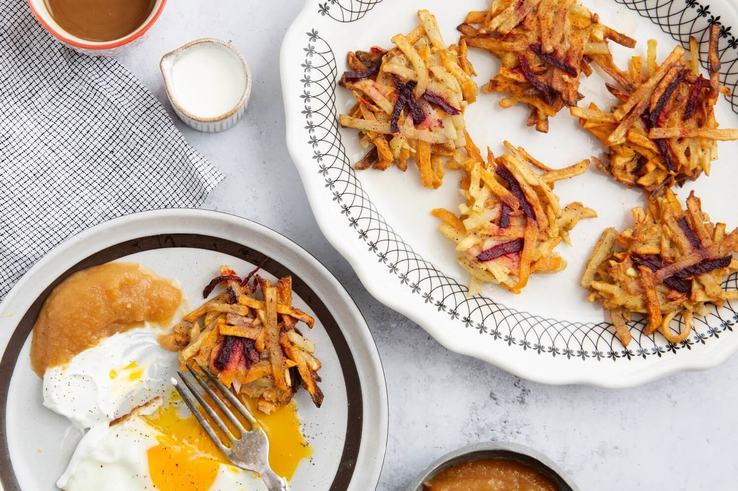These root vegetable pancakes feature your favorite root vegetables, shredded, and mixed with flour, onion, and an organic egg. Serve with fried eggs or ketchup. | peteandgerrys.com