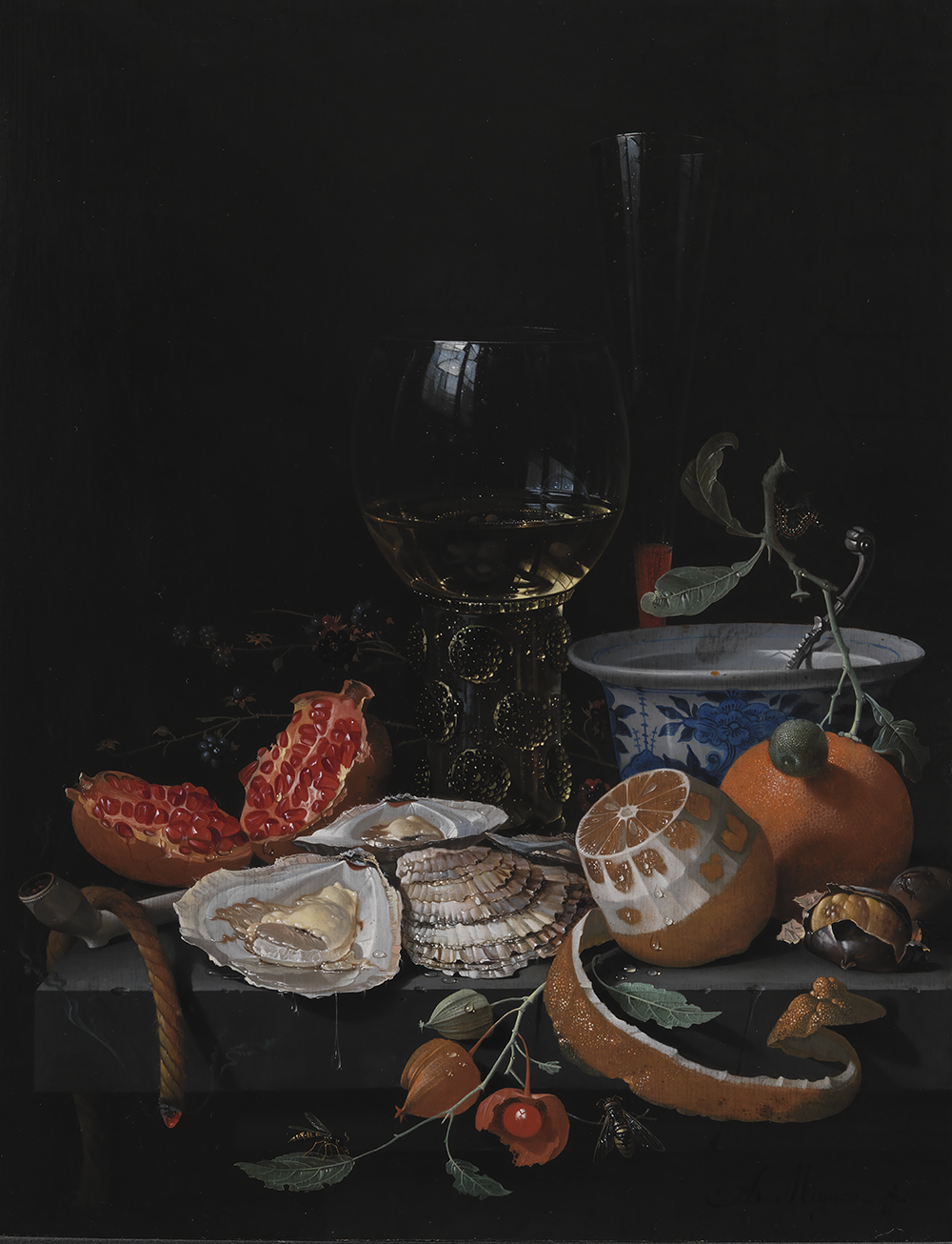 ABRAHAM MIGNON: Oysters, fruits and a wine glass on a stone table