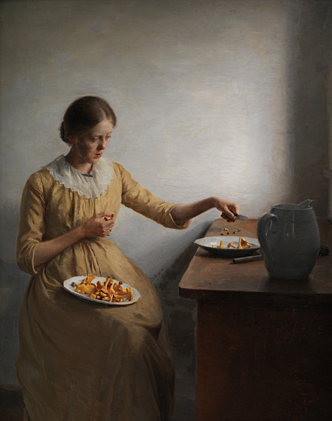 PETER ILSTED: A young girl cleaning chanterelles