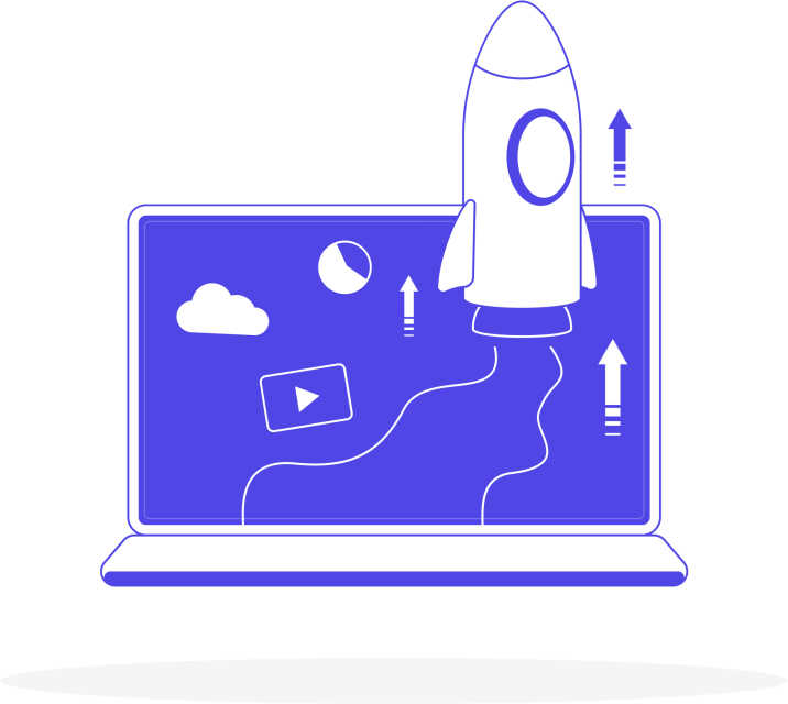 Rocket laptop illustration