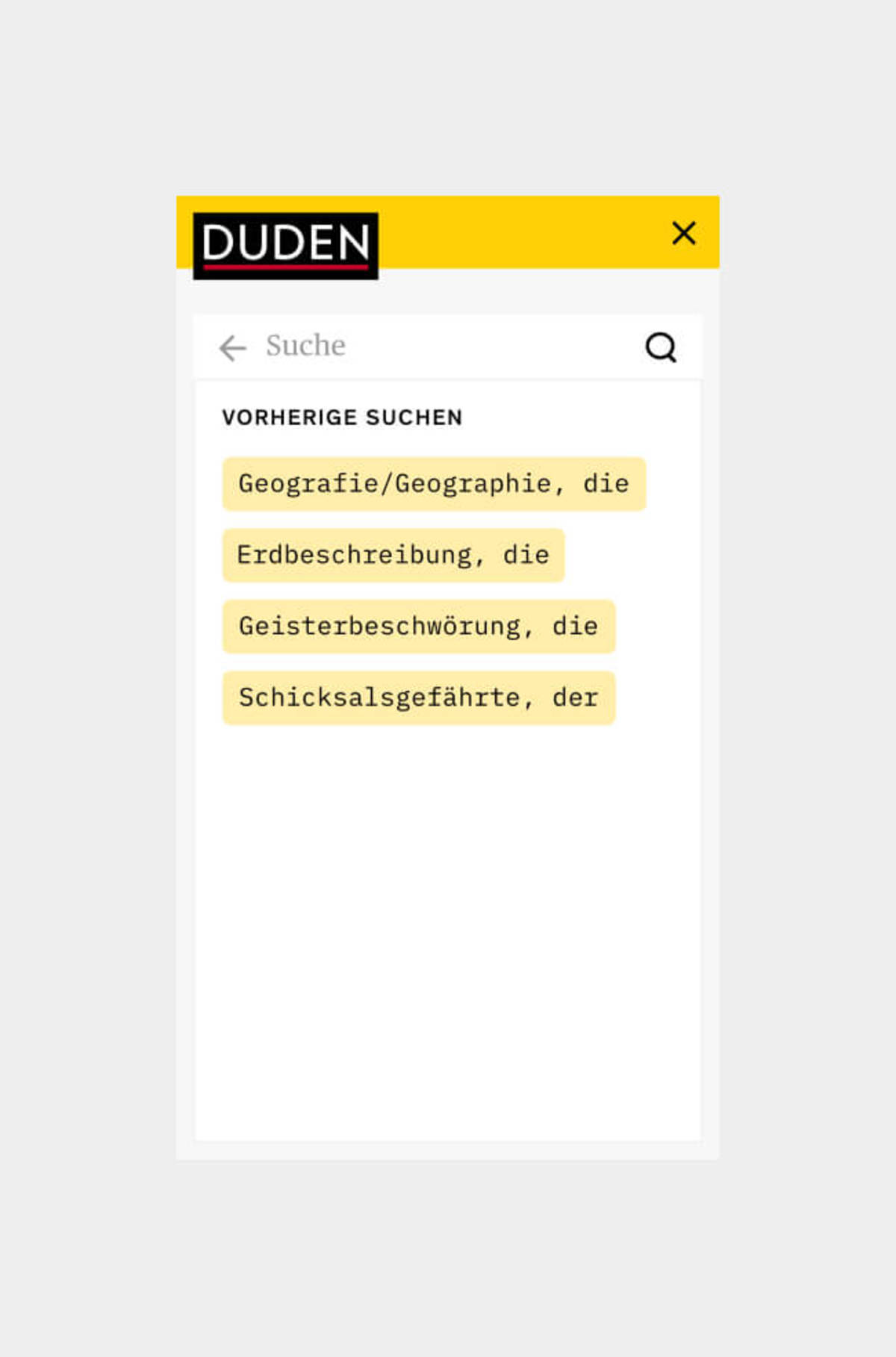 Visual of Duden Mobile Search - Step 2