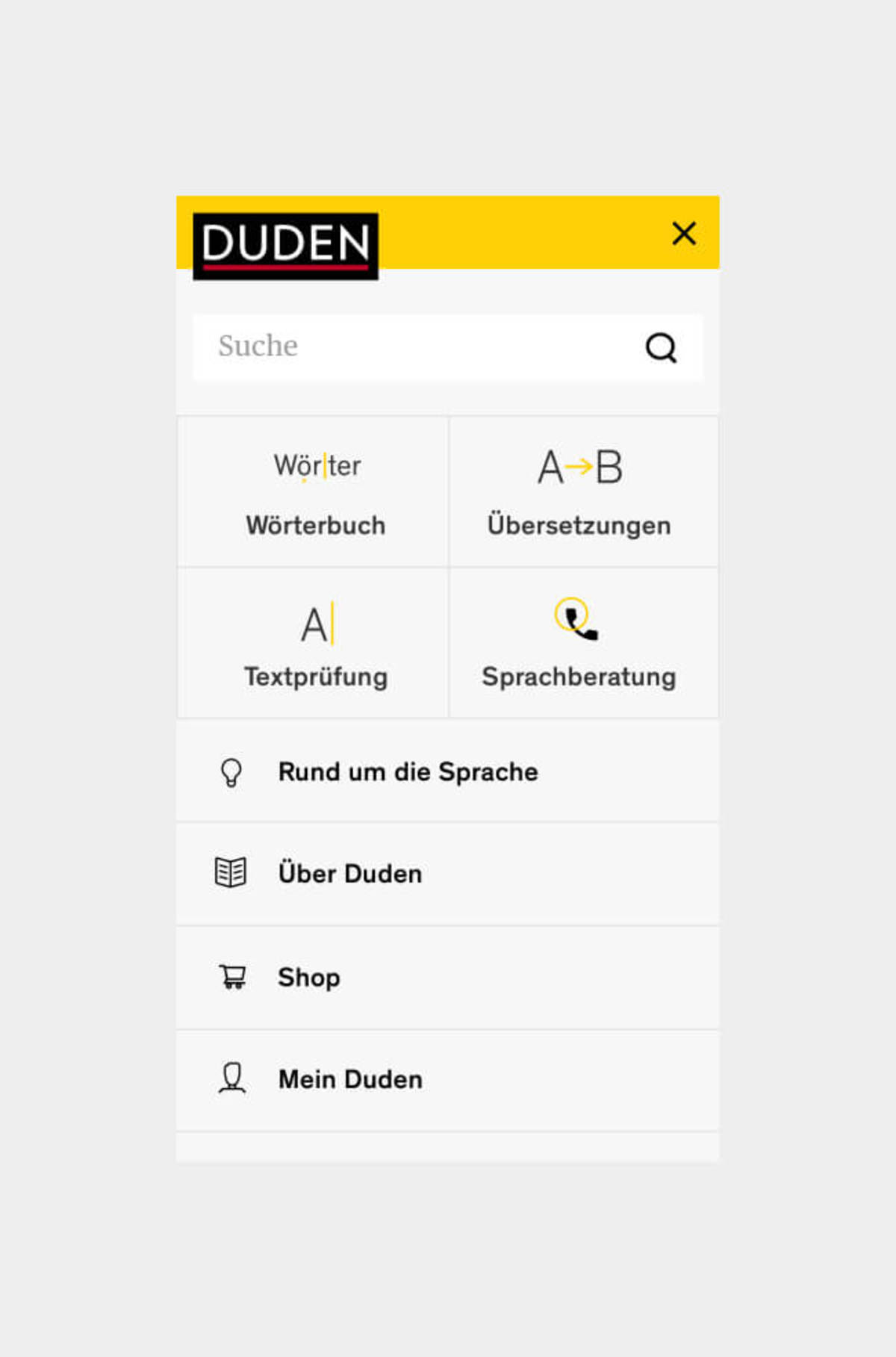 Visual of Duden Mobile Search - Step 1