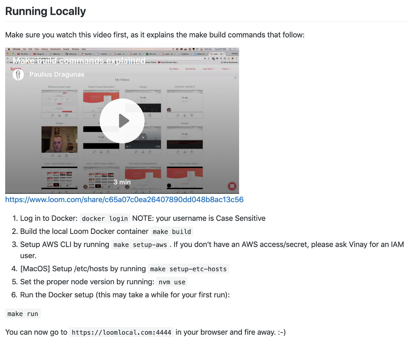 Loom web infrastructure README screenshot