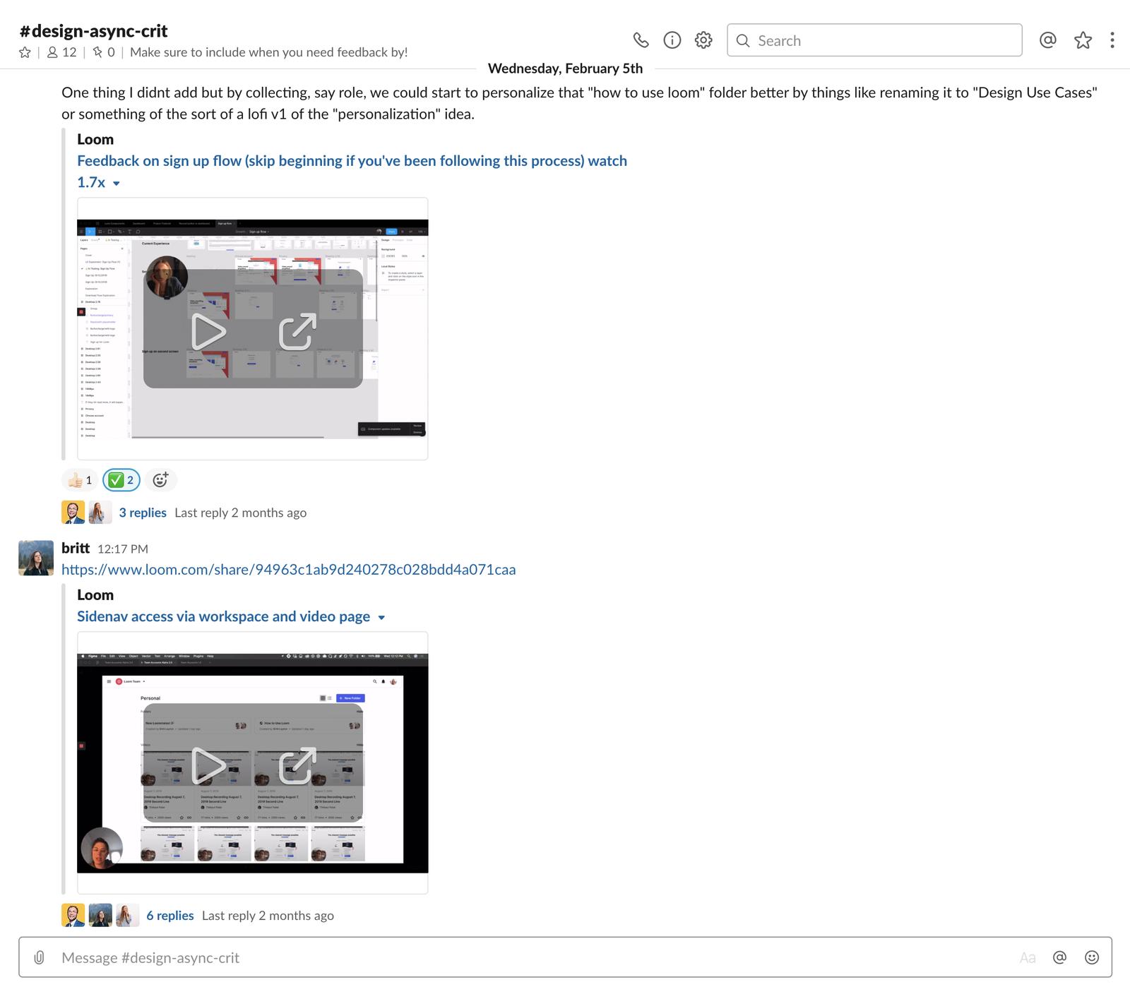 Slack channel messages for design critique