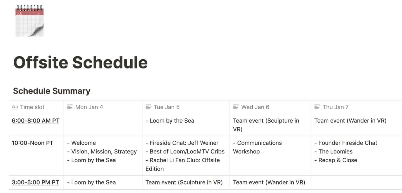 Virtual offsite schedule Notion screenshot