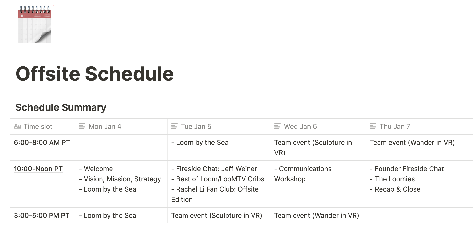 Virtual offsite schedule Notion screenshot