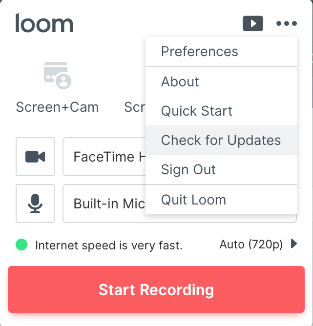 Loom check for updates screenshot