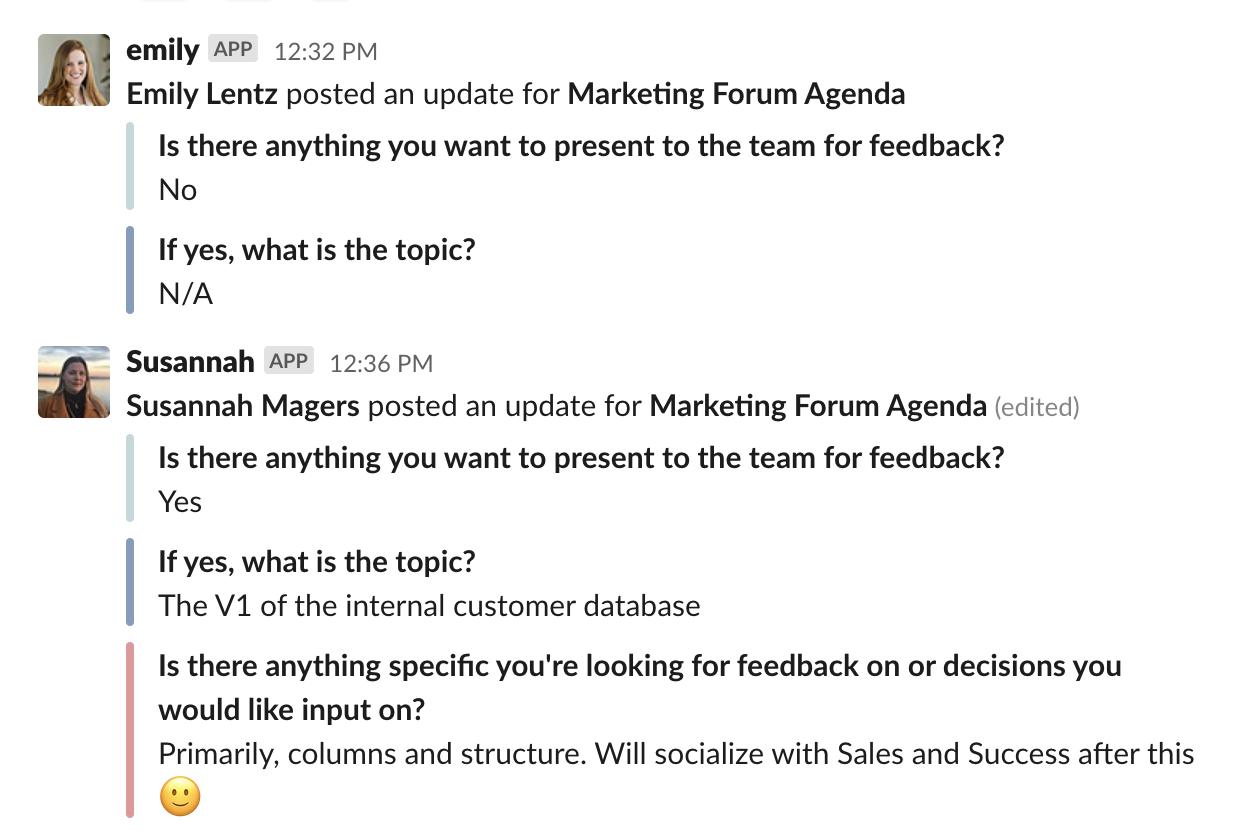Loom Marketing Forum Geekbot Updates