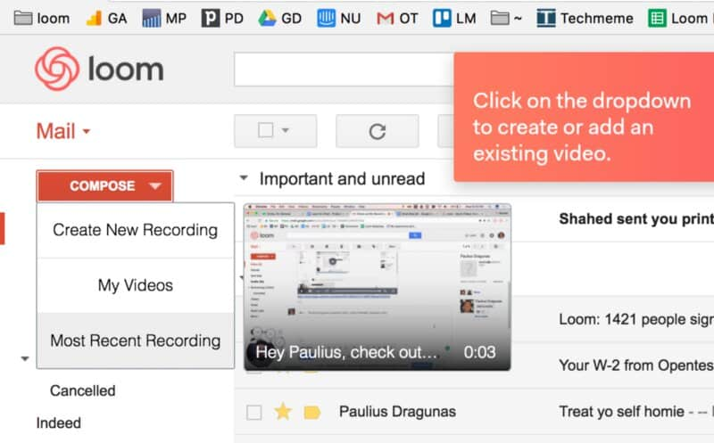 Loom integration with Gmail