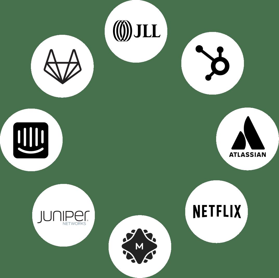 GitLab, JLL, Hubspot, Atlassian, Netflix, MetaLab, Juniper, Intercom.