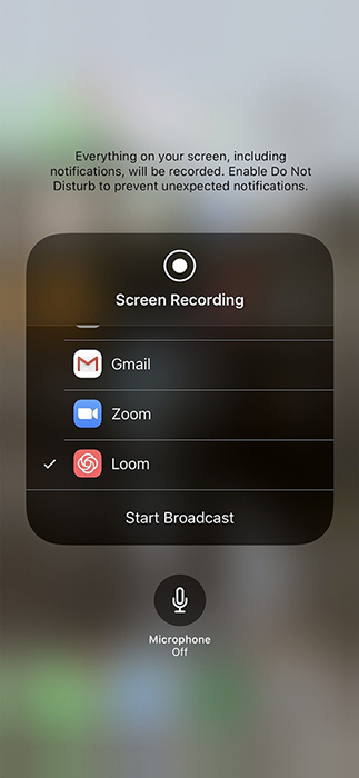 A screenshot of Loom screen recorder for iOS on an iPhone.