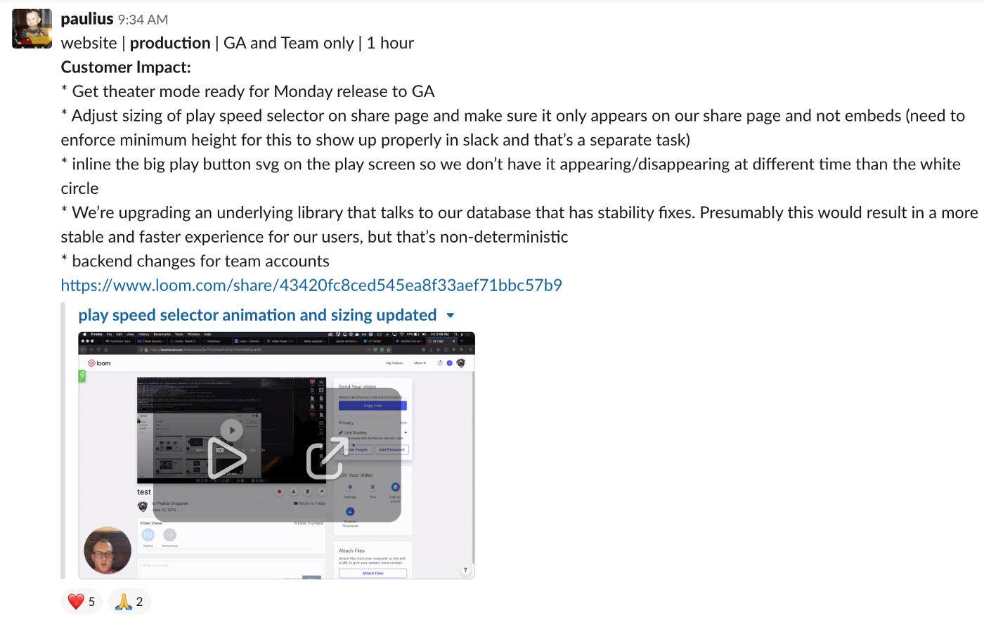 Loom integrated inline in Slack screenshot