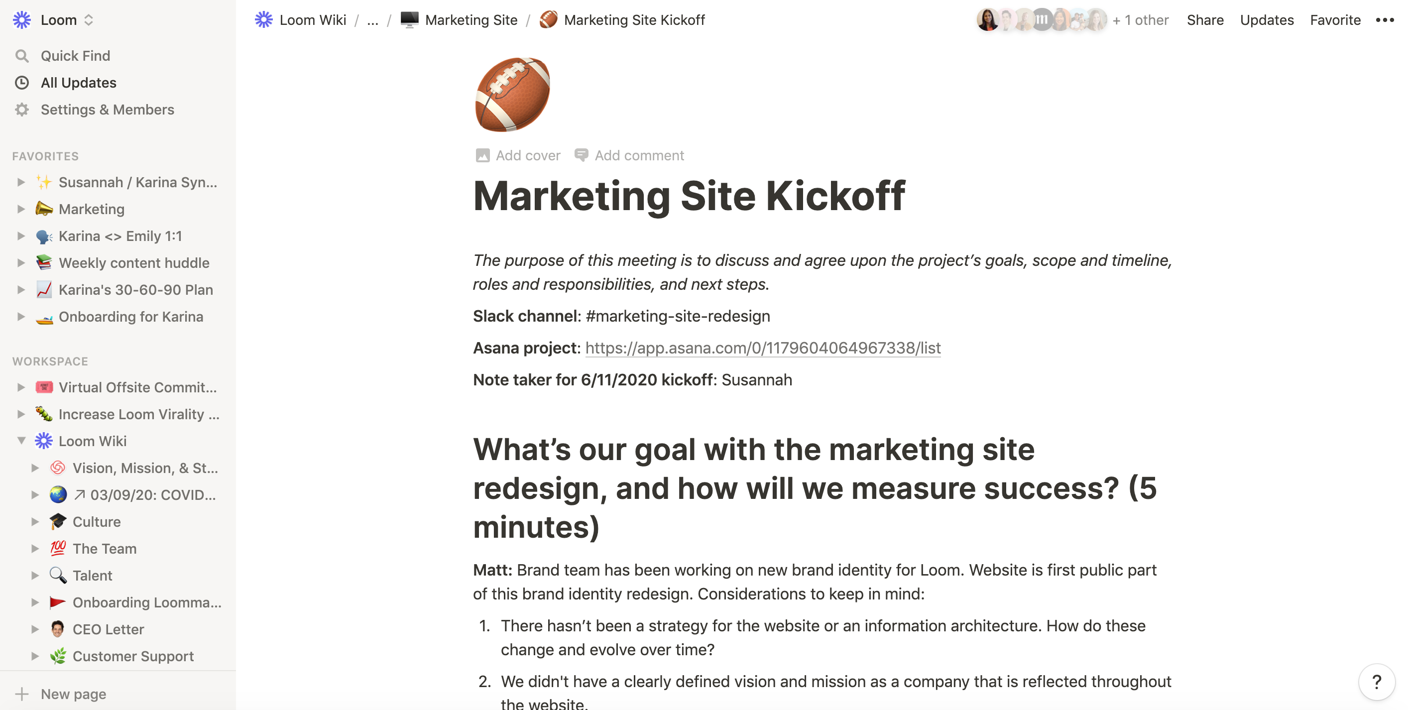 Screen shot Marketing Site Kickoff agenda in Notion