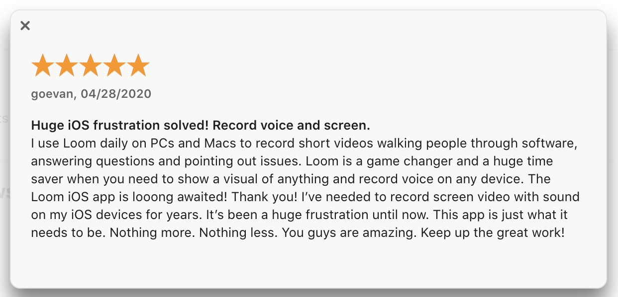 A screenshot of a Loom user review of the Loom for iOS app.