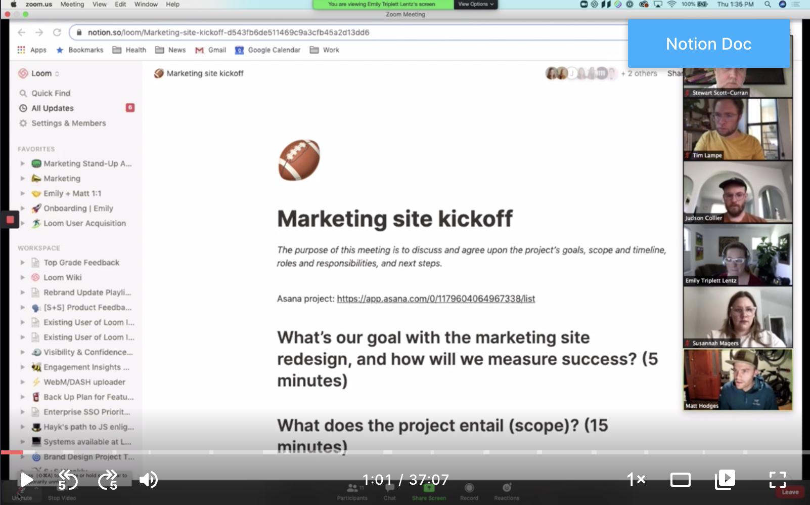 Marketing site kickoff call screenshot