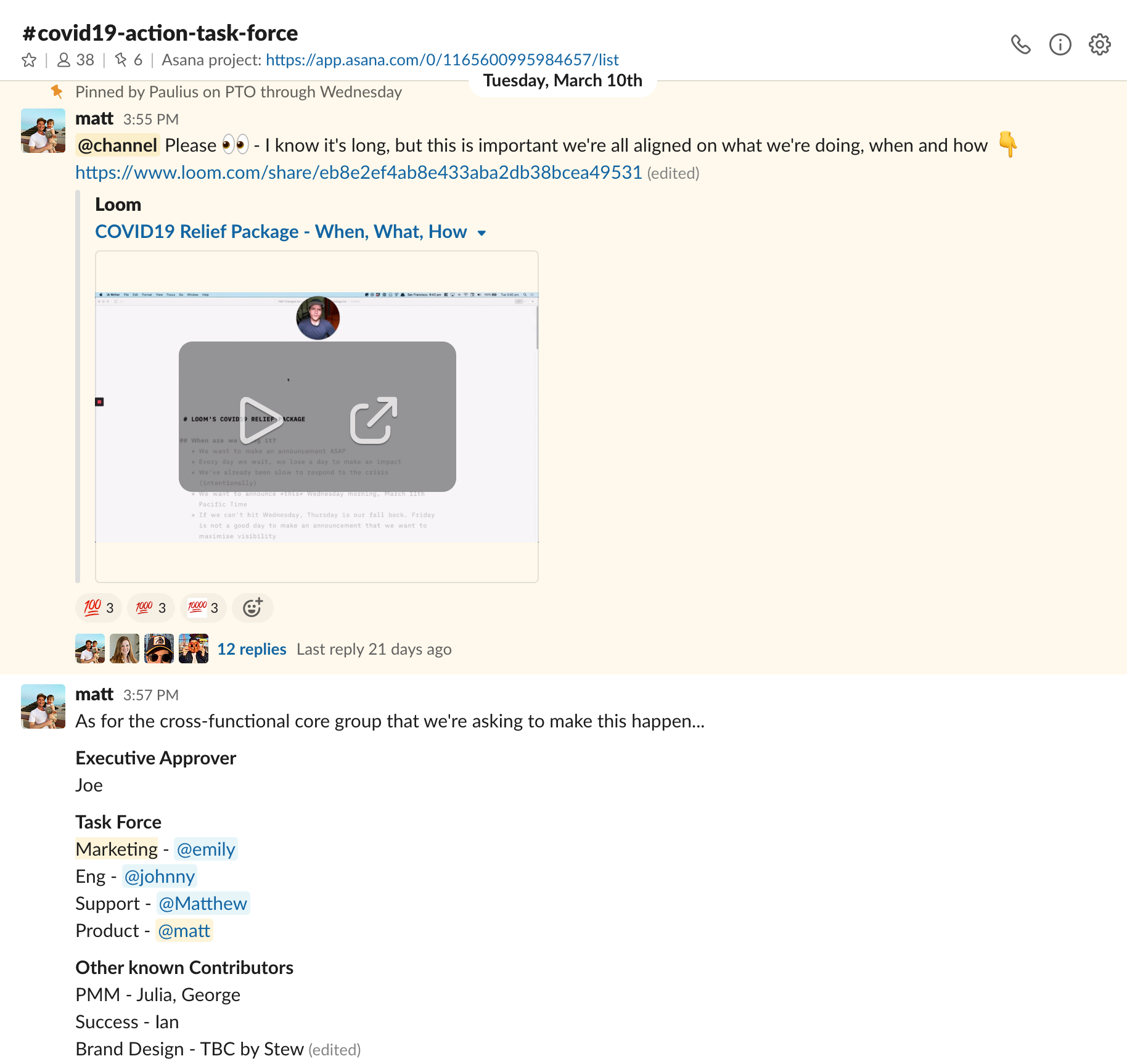Screenshot of Slack channel for COVID-19