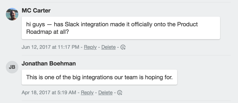 Slack integration request by user