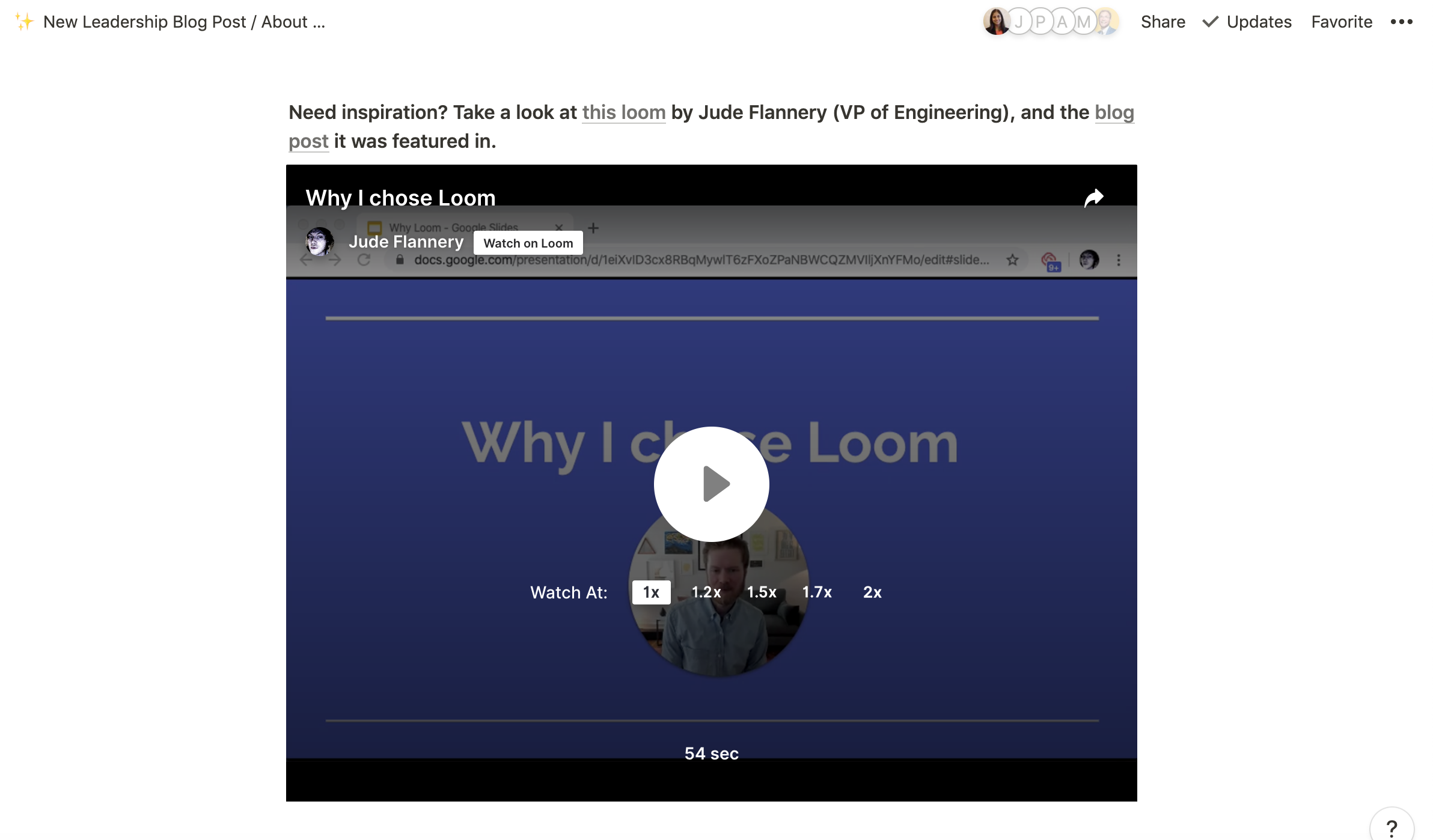 Screenshot of Notion embed loom