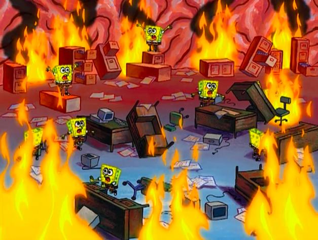 Sponge Bob office on fire
